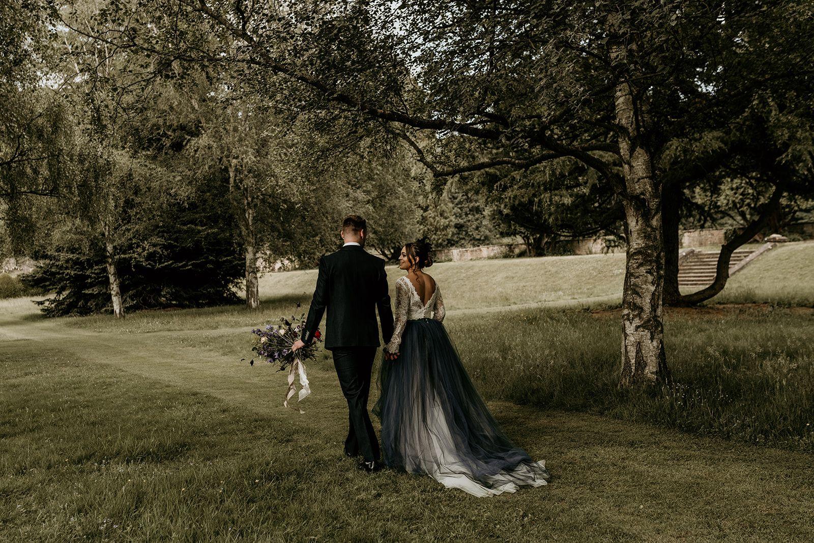 Navy blue tulle alternative wedding dress skirt