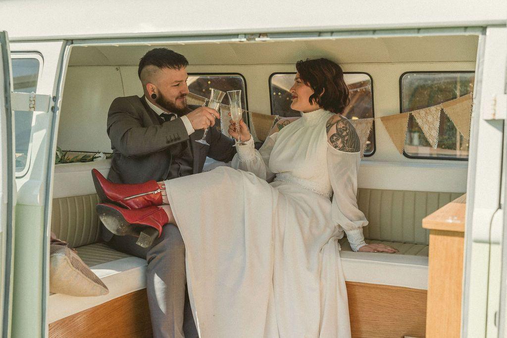 Elopement wedding dress ivory chiffon and lace
