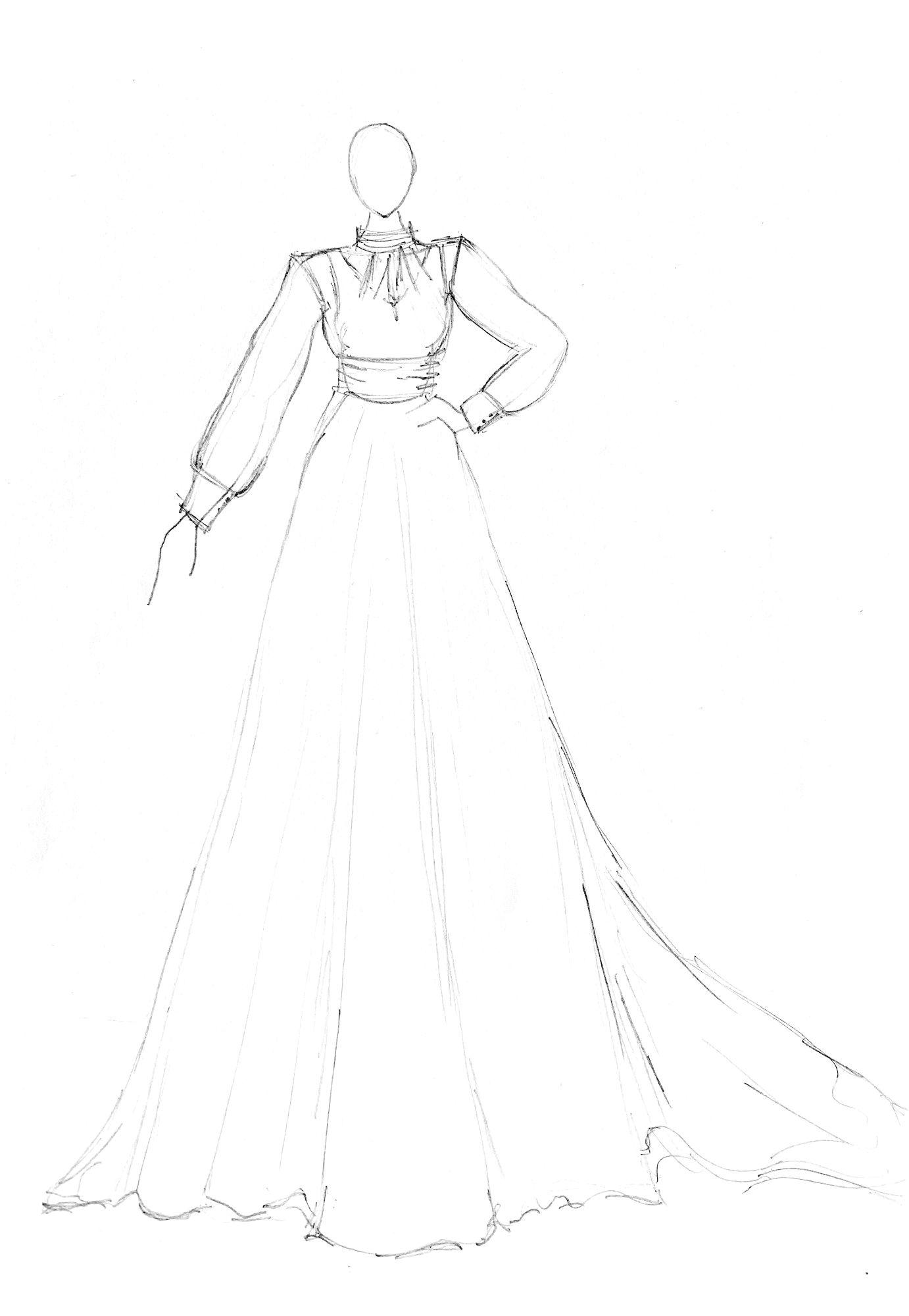bespoke wedding dress sketch