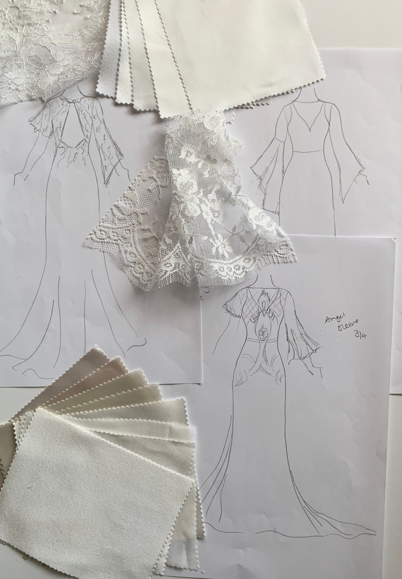 handmade bespoke wedding dress sketch
