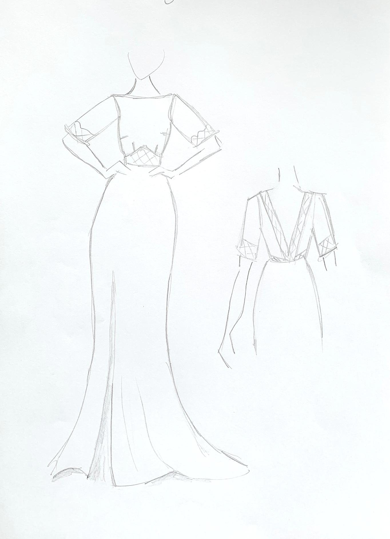 bespoke wedding dresss sketch