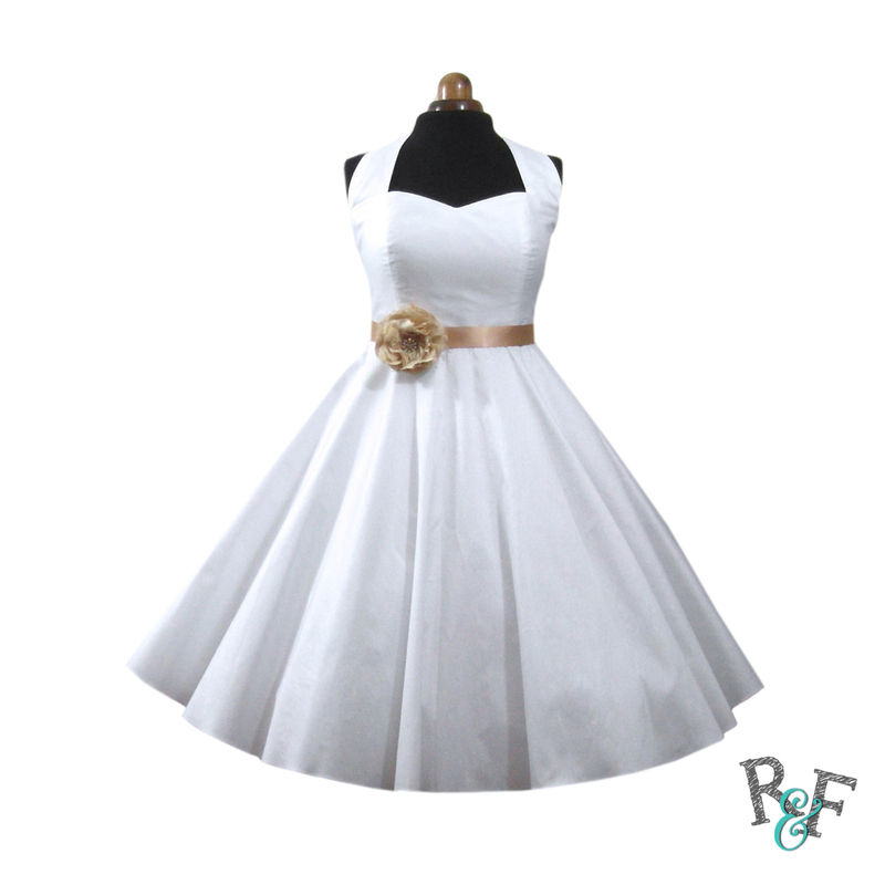 white halter neck rockabilly dress