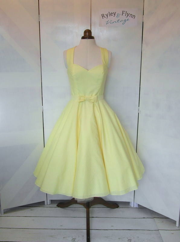 Lemon halter neck bridesmaid dress tea length