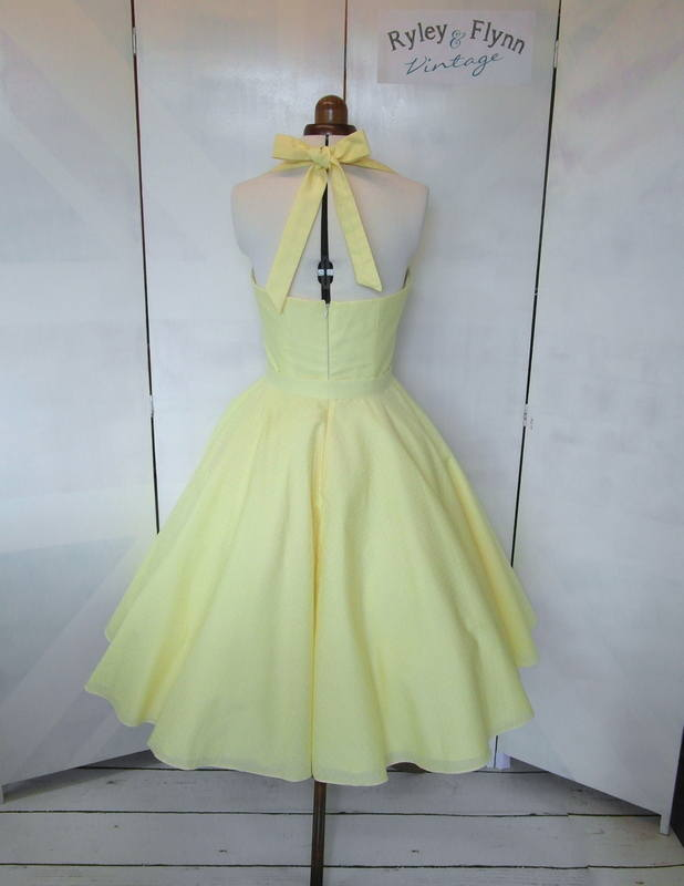 Lemon bridesmaid dress back tea length