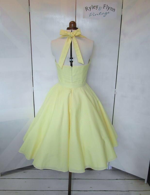 Lemon bridesmaid dress back tea length