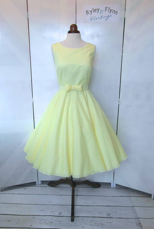 Lemon high neck tea length short bridesmaid dress