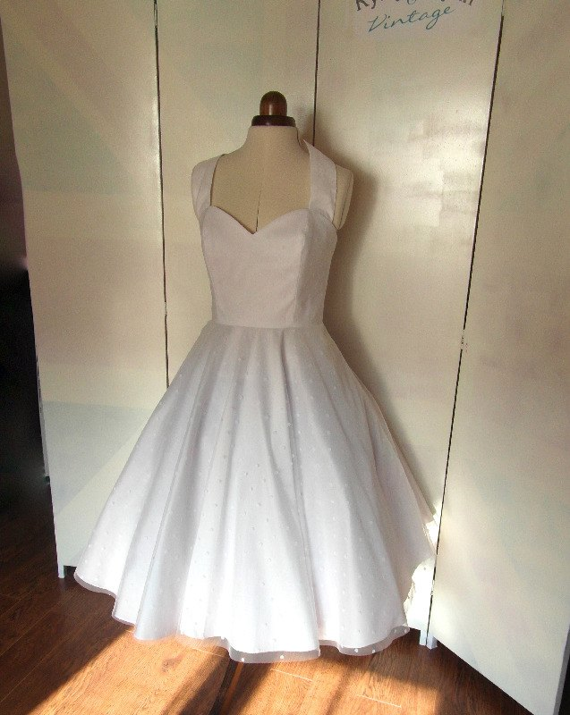 Spotty tea length wedding dress