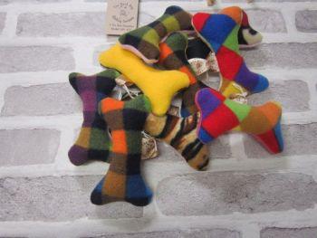 Handmade Posh Dog Toy - bone shape - small - squeak noise