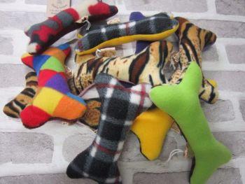 Handmade Posh Dog Toy - bone shape - medium - squeak noise