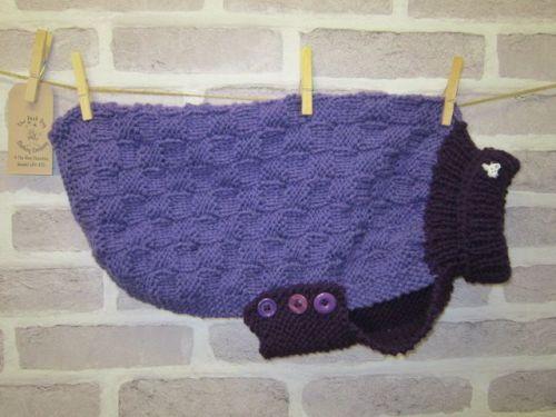 Handmade Posh Dog Jumper - 061 - chunky Basket weave pattern size M/L