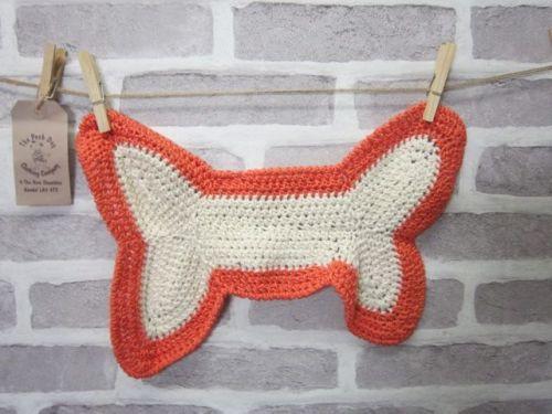 Handmade Posh Dog wash cloth - 003 - bone shape