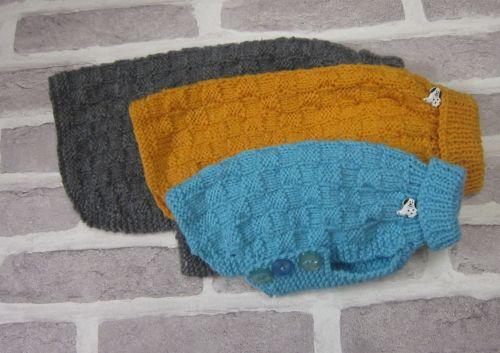 Posh Dog Clothing - Basket weave Jumper knitting pattern - smaller sizes in