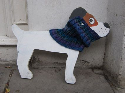Hand Knitted Posh Dog Snood - 026b - size M