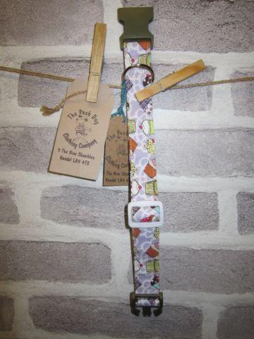 Handmade Posh Dog Collar 013 - adjustable fabric collar