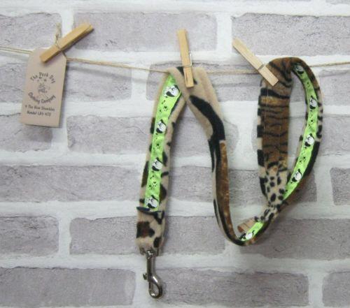 Handmade Posh Dog Lead 039 - Fleece / grosgrain Lead