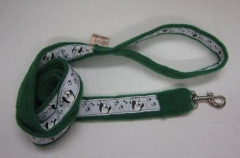 Handmade Posh Dog Lead 037 - Fleece / grosgrain Lead