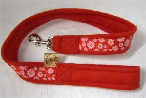 Handmade Posh Dog Lead 065 - Fleece / grosgrain Lead