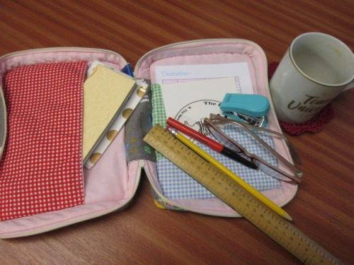 Stationary planner storage - cute little dogs with gingham pockets