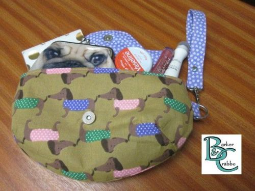Clutch bag with scallop flap & wrist strap with bright dachshund print