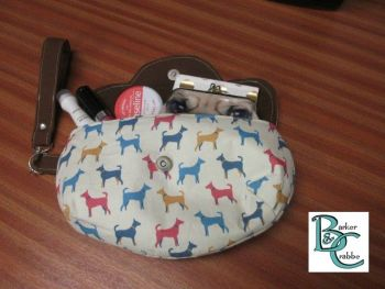 Clutch bag with scallop flap & wrist strap with terrier shapes dogs