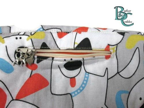 Clutch bag with scallop flap & wrist strap - cartoon dogs lined blue