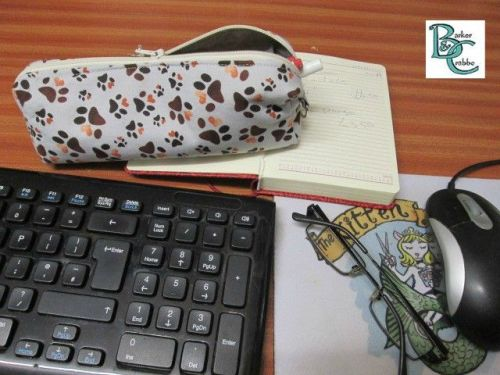 Long Box shape pencil case with paw prints - fully lined with grey