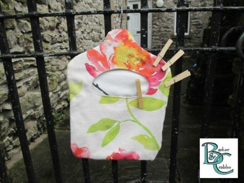 Old fashioned washing line peg bag - hot colour flowers