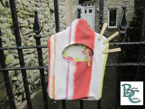 Old fashioned washing line peg bag - hot colour stripe and flowers