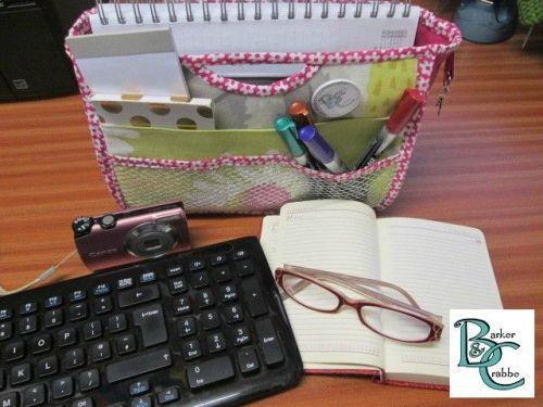 Planner / paperwork storage organizer case - pinks and silver
