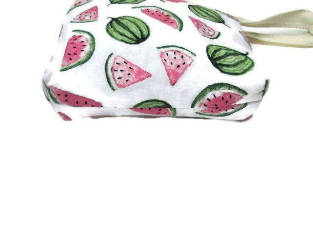 Wide mouth zipped pouch - white background with watermelon print