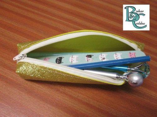 Long, slim, box shape pencil case - gold glitter fabric