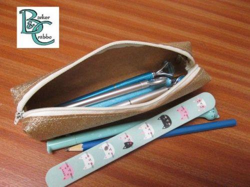 Long, slim, box shape pencil case - rose gold glitter fabric