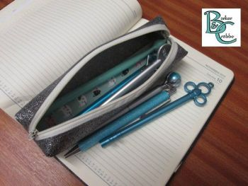 Long, slim, box shape pencil case - gun metal grey