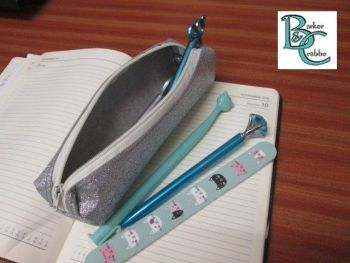 Long, slim, box shape pencil case - silver