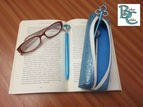 Long, slim, box shape pencil case - turquoise blue