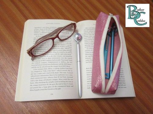Long, slim, box shape pencil case - pale pink