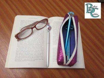 Long, slim, box shape pencil case - purple
