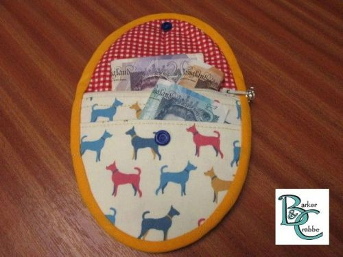 Purse with oval flap - cute little terrier dogs lined with red check