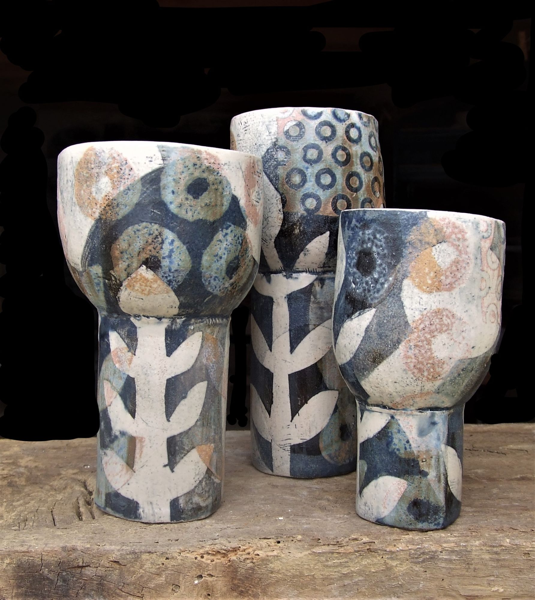 Goblets 3, grey and gold