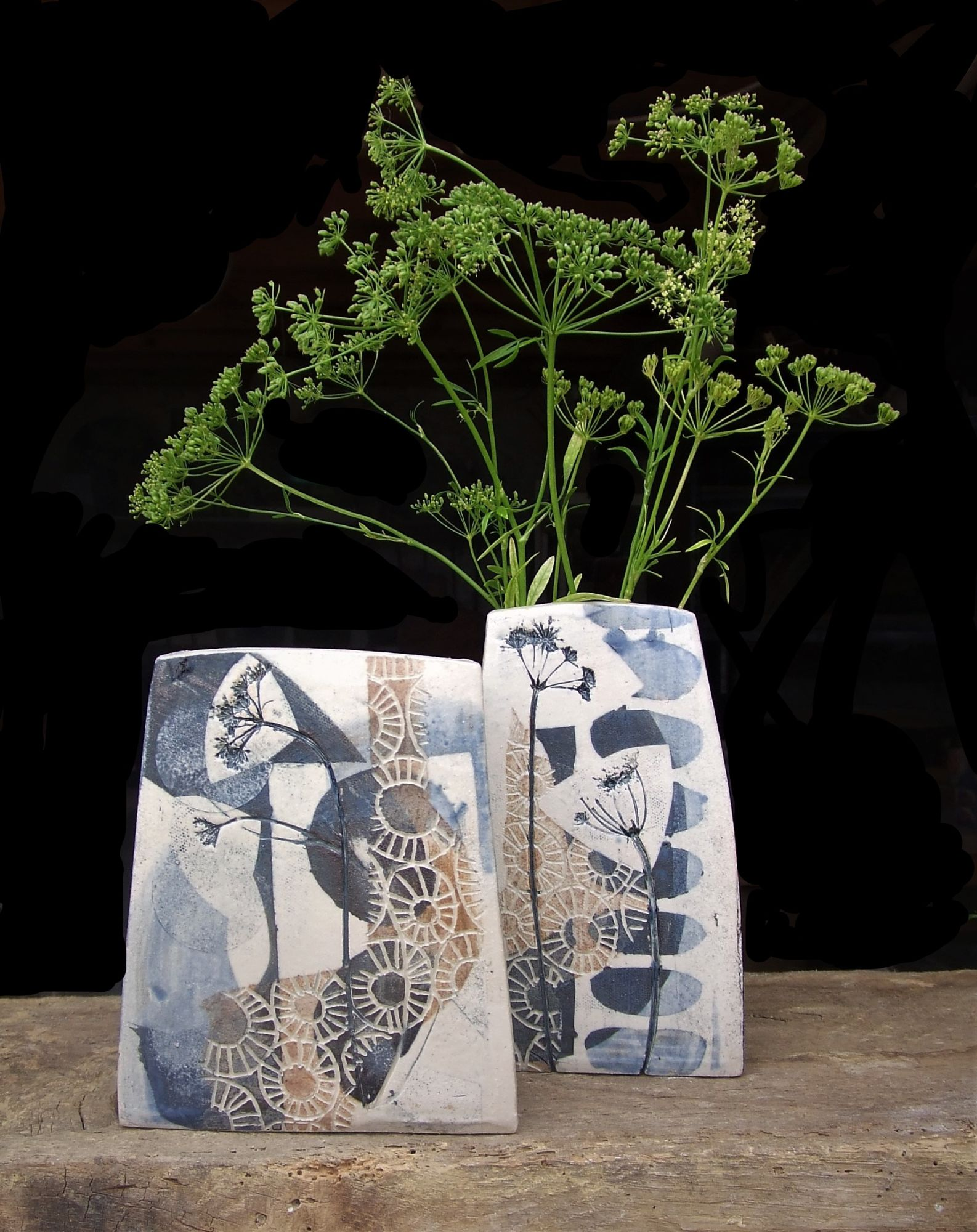 square vases, grey a,d gold