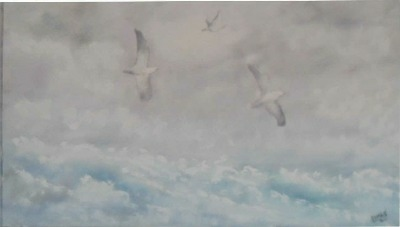 Seagulls Battling the Gale