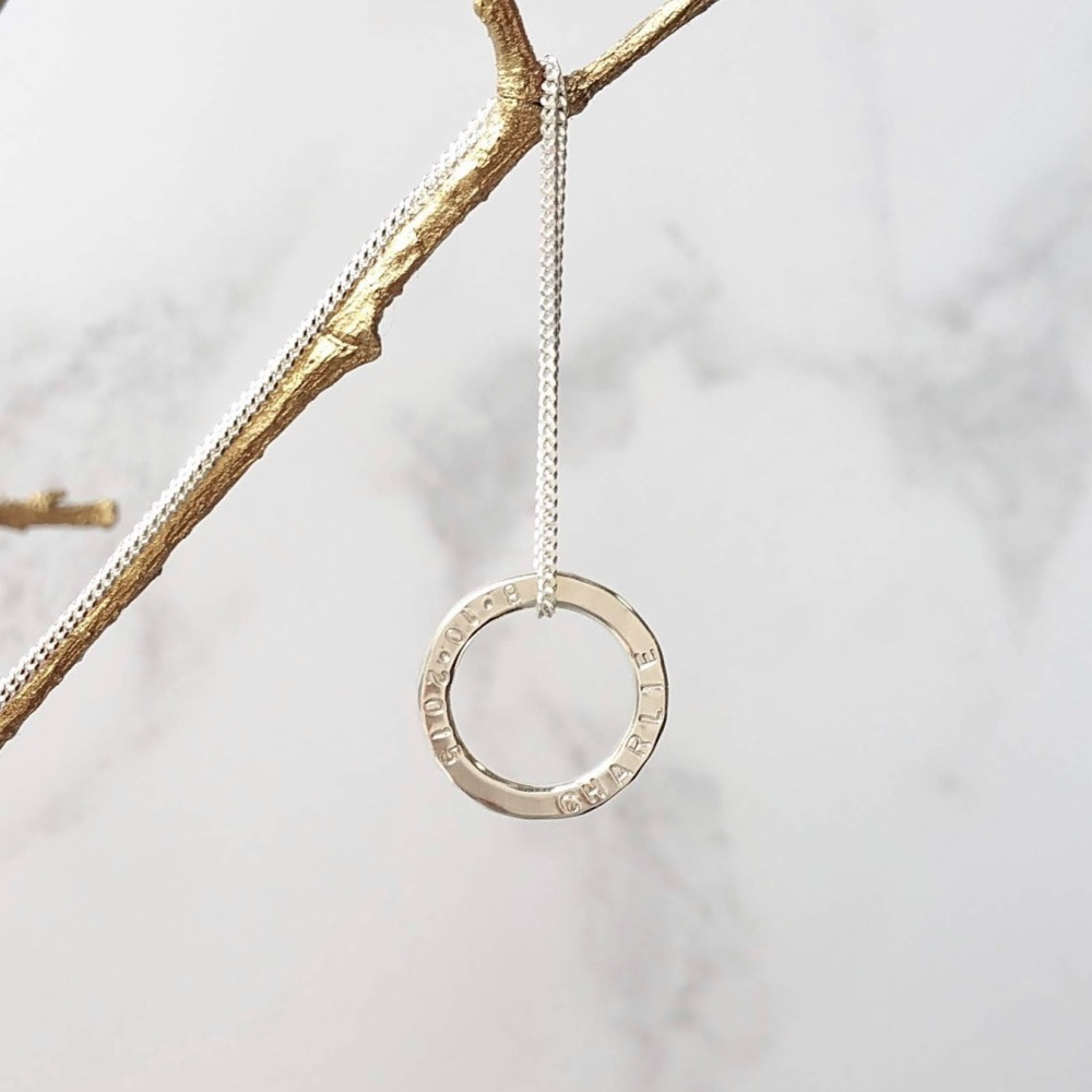 Personalised Tiny Circle Necklace