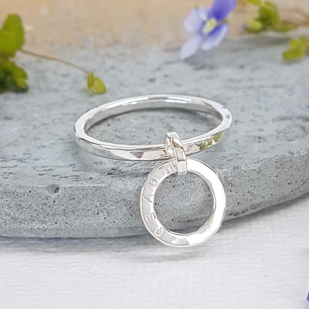 Personalised Circle Pendant Ring