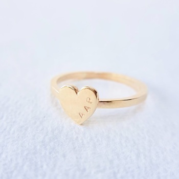Personalised Gold Heart Ring