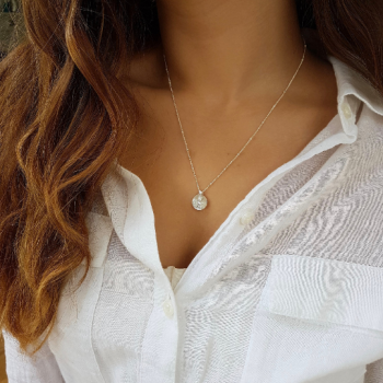 Round Silver Strap Necklace