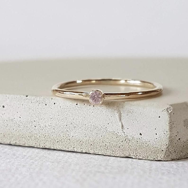 Whisper Pink Sapphire 9ct Gold Solitaire Stacking Ring