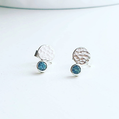 Cool Blue Montana Sapphire and Dimpled Sterling Silver Stud Earrings