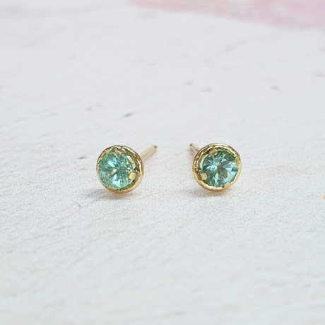 Ethical Pastel Tourmaline and 9ct Gold Stud Earrings