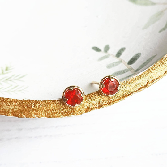 Ethical Mexican Fire Opal and 9ct Gold Stud Earrings