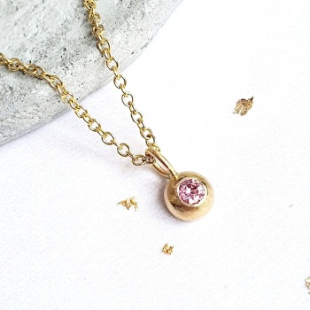 Pink Sapphire Dewdrop Necklace